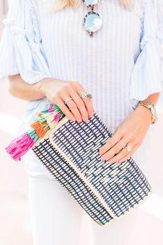 Ruffled Stripe Top + White Jeans - Mckenna Bleu