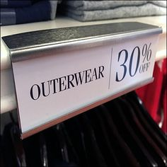 Clipping to the shelf-edge, this Slide-In Metal Label Holder for Solid-Shelf works throughout the store. Only the slide in message needs to be changed to. Polo Ralph Lauren Outlet, Retail Fixtures, Shelf, Label, Messages, Mood, Metal, Shelves, Shelving
