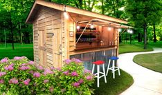 Standard Bar Shed Backyard Shed Bar Ideas, Outdoor Garden Bar, Garden Bar Shed, Outdoor Tiki Bar, Pool Shed, Patio Bar, Outdoor Sheds, Backyard Projects, Outdoor Bars