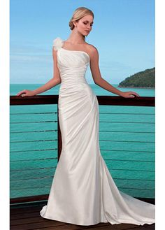 ELEGANT SATIN ONE SHOULDER WEDDING DRESS FOR YOUR BEACH WEDDING LACE BRIDESMAID PARTY COCKTAIL EVENING GOWN IVORY WHITE
