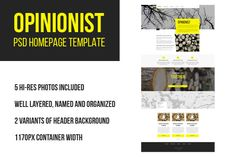 Opinionist PSD homepage template by Knofl store on @creativemarket