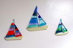 the beach house Broken Glass Art, Sea Glass Art, Glass Wall Art, Stained Glass Art, Fused Glass, Blown Glass, Beautiful Beach Houses, Glass Boat, Stain Glass Cross
