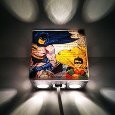 Decorating Idea. Batman And Robin Superhero  Repurposed Vintage Dictionary Print Light Box Night Lights. $38.00, via Etsy.