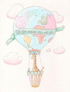 Travel Themed Nursery Painting - Giraffe - Travel Nursery - Hot Air Balloon by Debbie Cerone