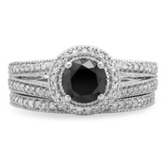 Shop for 14k White Gold 1 1/4ct TDW Round White and Black Diamond Halo Engagement Ring Set (H-I, I1-I2 and Opaque). Get free delivery at Overstock.com - Your Online Jewelry Destination! Get 5% in rewards with Club O!