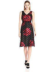 Donna Ricco Women's Sleeveless Printed A-Line Dress, Black/Red, 6 A Line Evening Dress, Evening Dresses, Donna Ricco, Dresses For Work, Dresses With Sleeves, Stunning Dresses, Special Occasion Dresses, Dress Patterns, Prints