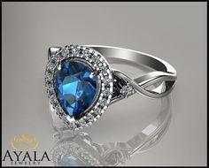 14K White Gold Topaz Ring Halo Engagement by AyalaDiamonds on Etsy $880