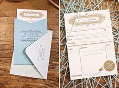 Library card inspired invitations by The Aerialist Press