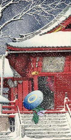 "Original woodblock print - Kawase Hasui - ""Ueno Kiyomizudo no yuki""上野清水堂の雪 (Snow at Kiyomizu hall in Ueno) - ca - Catawiki Japanese Art Prints, Japanese Painting, Chinese Painting, Japanese Landscape, Japanese Architecture, Yuki Onna, Graphic Illustration, Botanical Illustration, Illustrations"