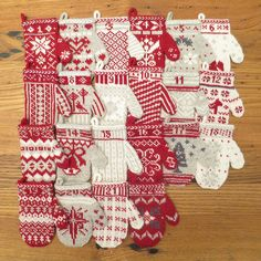 """With this Christmas project, you will get free knitting patterns for this DIY Mittens Homemade Advent Calendar. That's 24 mini DIY mittens to knit and """"open"""" on the December days counting down to Christmas. Mittens are great advent calendar ideas. Knit Christmas Ornaments, Knitted Christmas Stockings, Christmas Crafts, Xmas, Knitting Charts, Knitting Patterns Free, Free Knitting, Homemade Advent Calendars, Christmas Knitting Patterns"""