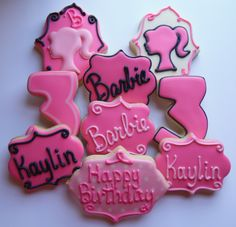 Barbie Birthday Party Games, Birthday Party Favors, Birthday Ideas, 24th Birthday, Barbie Party Decorations, Cookie Party Favors, Homemade Sugar Cookies, Sugar Cookie Royal Icing, Valentines Gift Box