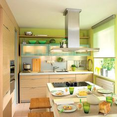 kitchen design with lime green wall