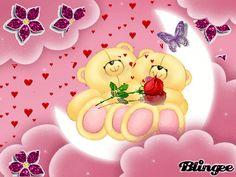 Imágenes animadas de ositos con flores y corazones de purpurina.