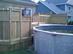 Patios & decks piscine - Patio Bois Traité Decks Around Pools, Swimming Pools Backyard, Back Patio, Decking, Old Houses, Outdoor Decor, Home Decor, Courtyards, Blue Prints