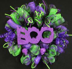 BOO, Halloween Wreath, Skull Wreath, Purple Black Lime Green, Wreaths for the Door, Halloween Door Decor - Item 792