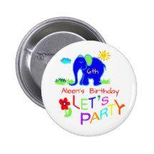 Rainbow Let's Party Elephant Name & Age Birthday Pinback Button