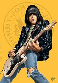Johnny Ramone - O cara que revolucionou o Punk/Rock Joey Ramone, Rock Posters, Band Posters, Concert Posters, Ramones, Punk Rock, Historia Do Rock, Heavy Metal Art, Rock And Roll Bands
