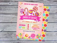 Candyland Invitation Sweet Shop Invitation  Candy