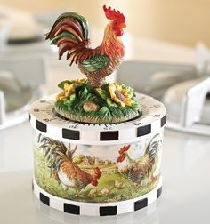 Rooster With Sunflowers Figurine Kitchen Timer