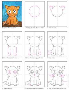 Draw a Big Head Cat (Art Projects for Kids) - Basteln mit Grundschülern - Katze Art Drawings For Kids, Drawing For Kids, Easy Drawings, Art For Kids, Drawing Projects, Drawing Lessons, Art Lessons, Art Projects, Drawing Ideas