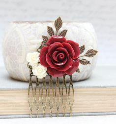 Red Rose Comb Floral Collage Hair Accessories by apocketofposies