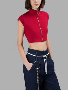 R.SHEMISTE WOMEN'S RED TURTLE NECK TOP.