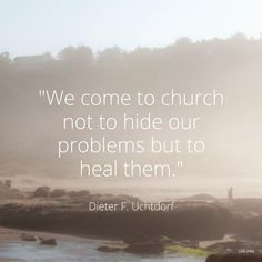"""""""The Church is not an automobile showroom—a place to put ourselves on display. It is more like a service center, where vehicles in need of repair come for maintenance and rehabilitation. We come to church not to hide our problems but to heal them."""" http://youtu.be/umYofyNxeVg From #PresUchtdorf's http://pinterest.com/pin/24066179228856353 inspiring #LDSconf http://facebook.com/223271487682878 message http://lds.org/general-conference/2015/04/on-being-genuine #ShareGoodness"""