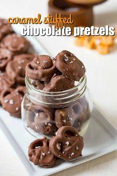 Caramel Stuffed Chocolate Covered Pretzels