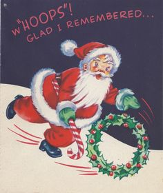 Retro Santa. Vintage Christmas Card