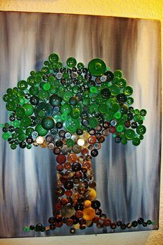 Button Tree Button Tree Art, Clever, Trees, Painting, Buttons, Tree Structure, Painting Art, Paintings, Painted Canvas