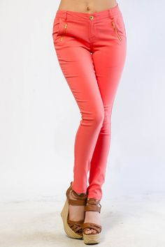 Zipper Trim Solid Pants