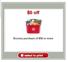 Target Coupons: $5 off $30 Grocery Purchase