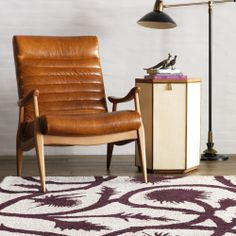 DwellStudio Hans Leather Chair | Game Room
