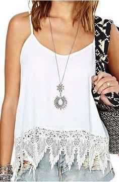 Gorgeous Lace! Stylish Boho Chic White Lace Spliced Spaghetti Strap Summer Tank Top #Sexy #Bohemian #Style #White #Lace #Summer #Tank #Top