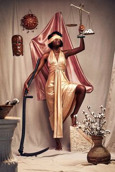 """""""A body of work focused on the restructuring of iconic sculptural artwork. My team worked to recontextualize the traditional scul. Black Girl Art, Black Women Art, Black Girl Magic, Art Girl, Creative Photoshoot Ideas, Photoshoot Themes, Fotografie Portraits, Lady Justice, Photographie Portrait Inspiration"""