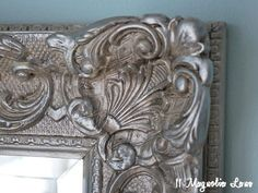 How to make an outdated mirror look antique with silver leaf paint, antiquing glaze and french gilding wax. Chalk Paint Mirror Frames, Painting Mirror Frames, Silver Leaf, Diy Picture Frames, Silver Picture Frames, Redo Mirror, Mirror, Mirror Painting, Refinish Mirror Frame