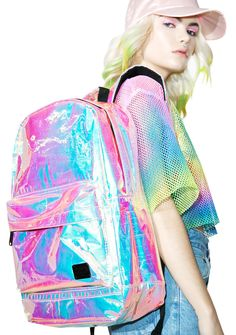 Spiral UK Holographic OG Backpack will take tha rager wherever yew go, bb. This sik holographic backpack features an iridescent crackle design, a roomy interior with padded separator, hidden pockets, grab handle, and adjustable straps.
