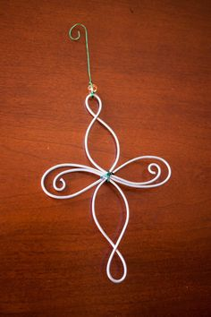 Wire Christmas Ornament: Fleur-De-Lis. Celtic Knot by NomadBlue