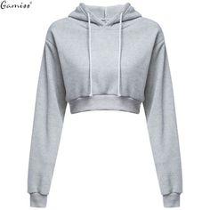 Woman Crop Hoodies Autumn Chic Lace Up Long Sleeve Pullover Sweatshirt Women Crop Top Girls Black
