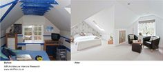 Before and after interior shot of one of our projects, simple but effective.