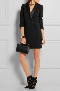 DKNY | Satin-trimmed stretch-wool crepe mini dress | NET-A-PORTER.COM