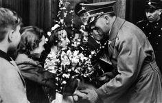 Hitler receiving flowers