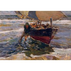 Beaching the Boat (study) Oil Painting for sale on overArts.com