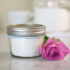 A heavenly homemade rose bath milk, made with simple ingredients from he kitchen cupboard - perfect for soothing and moisturising the skin.