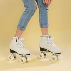 Online Shop RENIAEVER Double row skate polyurethane wheels double row roller skates leather Base of aluminium alloy skating shoe ,white Best Roller Skates, White Roller Skates, Snowboard Girl, Gym Clothes Women, Surf Girls, Roller Skating, Skate Shoes, Types Of Shoes, Leather Boots