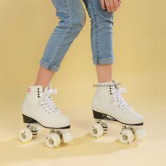 Online Shop RENIAEVER Double row skate polyurethane wheels double row roller skates leather Base of aluminium alloy skating shoe ,white Best Roller Skates, White Roller Skates, Snowboard Girl, Roller Skating, Skate Shoes, Types Of Shoes, White Sneakers, Real Leather, Shoes
