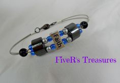 Men's Guitar String Bracelet: Recycled FAITH Bracelet with Silver, Blue, & Black - Hematite and Glass Beads - pinned by pin4etsy.com