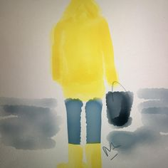 Fisherman by RZ - bad weather for the crabs ! @voguemagazine @voguehommes @harpersbazaarus @cosmopolitan @thelittlepageofhygge @houseandgardenuk @cotemaison #fashion #fishing #fisherman #yellow #sportswear #sport #sea #seafood #beach #weather #fashionista #fashionblogger #illustration #art #painting #aquarelle #watercolor