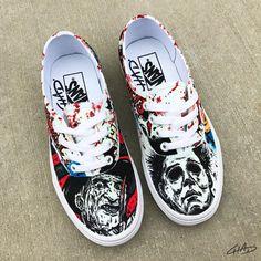 fdea4c3e92bb Ultimate Horror!! Freddy vs Jason vs Michael hand painted custom Glow in  the Dark Vans shoes