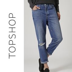 NWT Topshop MOTO Hayden Ripped Boyfriend Jeans Brand: Topshop Style: Hayden (Loose Fit Authentic Boyfriend) Size: 28x30 (Short)  These jeans are new with tags and are a beauty. They are a boyfriend fit and feature distressing along the right knee. There is factory fading along both legs. They have a button fly closure (no zip) as well as five pockets.  These can be worn uncuffed or cuffed (up to two times).  No trades. Topshop Jeans Boyfriend